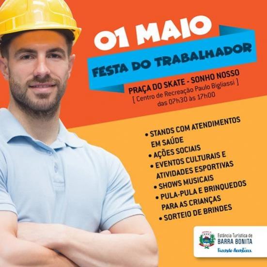 FESTA DO TRABALHADOR SERÁ NA PRAÇA DO SKATE DO SONHO NOSSO